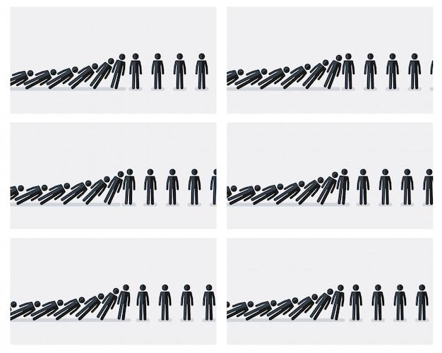 Figuras de pau caindo folha de sprite de animação. de efeito dominó