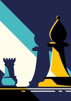Figuras de xadrez. arte do conceito de estratégia em design plano.