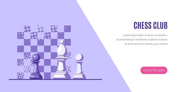 Figuras de xadrez e padrão de tabuleiro de xadrez no fundo. modelo de banner do clube de xadrez.