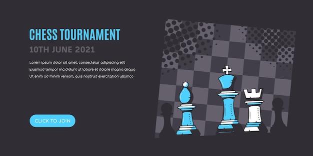 Figuras de xadrez em fundo preto azul com tabuleiro de xadrez. modelo de banner de torneio de xadrez