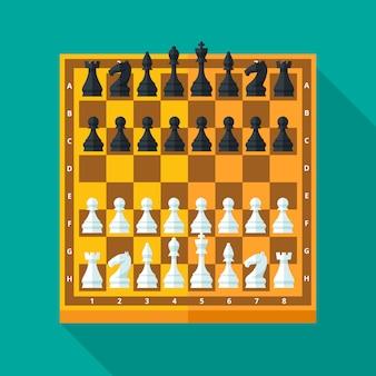 Figuras e tabuleiro de xadrez em estilo moderno para o conceito e web. ilustração.