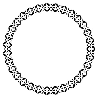 Figuras geométricas islâmicas enfeitam moldura redonda. fronteira do círculo árabe. vetor e ilustração.