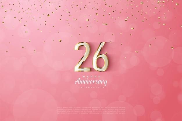 Figuras luxuosas de ouro no 26º aniversário