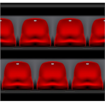 Fila de assentos do estádio - arena esportiva, vista frontal das cadeiras de plástico vermelho