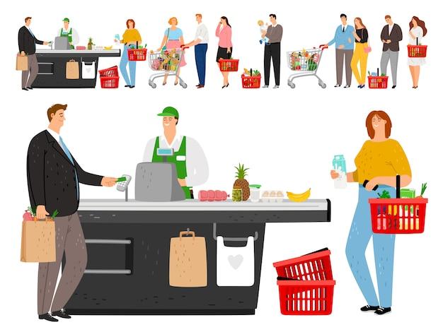 Fila de compras de supermercado