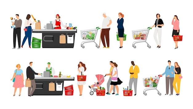 Fila de compras de supermercado.