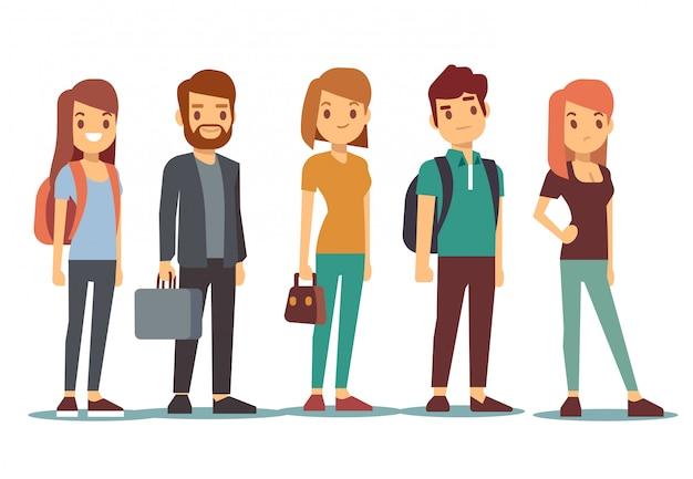 Fila de jovens. esperando mulheres e homens em pé na fila. ilustração vetorial