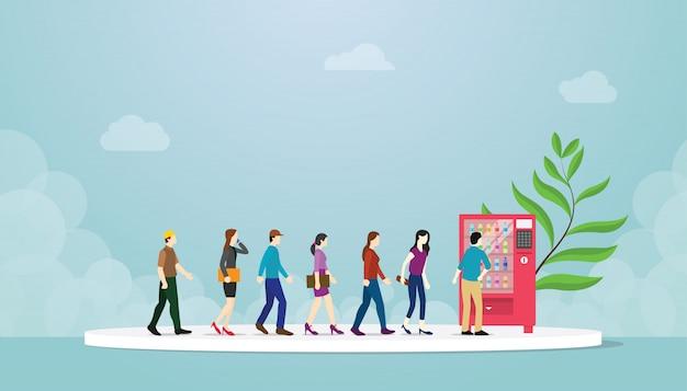 Fila de máquinas de venda automática com muitas pessoas