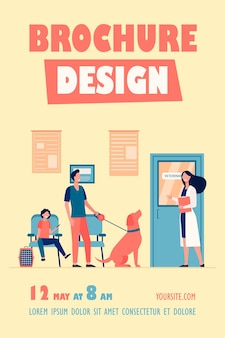 Fila de pessoas com animais de estimação no modelo de panfleto da sala do veterinário