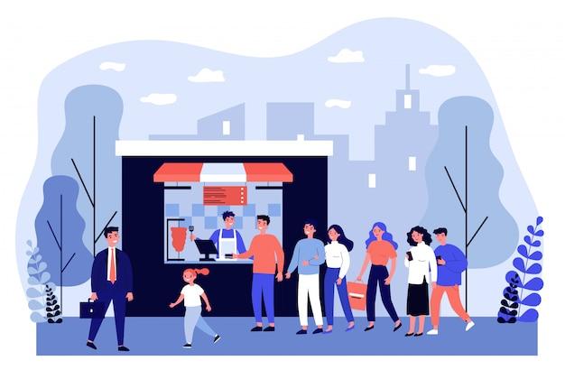 Fila de pessoas esperando no balcão do quiosque de fast-food