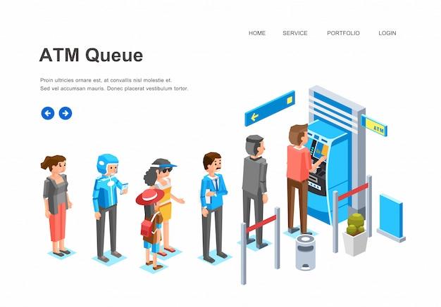 Fila de pessoas isométrica no caixa eletrônico, homem, mulheres e personagem de criança na fila na frente do caixa eletrônico esperando sua ilustração