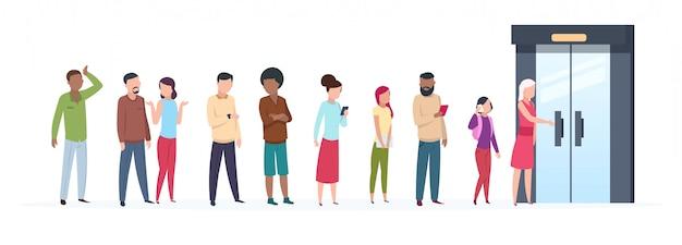 Fila de porta aberta. tendências de personagens de pessoas do lado de fora da linha de cliente adulto jovem agrupam roupas elegantes. ilustração plana