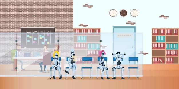 Fila de robôs no escritório moderno espera a entrevista de emprego