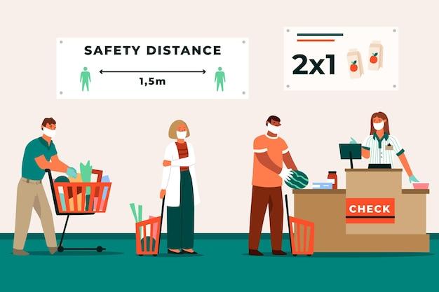 Fila de supermercado com distância de segurança