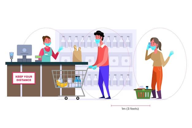 Fila de supermercado ilustrada com distância de segurança