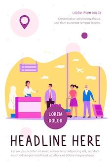 Fila de viajantes no balcão de check-in em ilustração plana do aeroporto