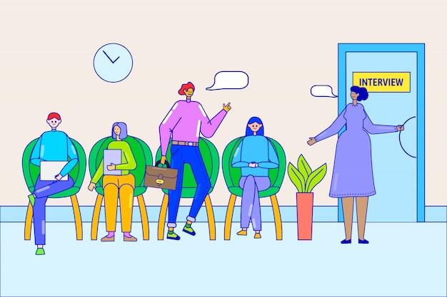 Fila na ilustração de escritório de entrevista de emprego. pessoas de negócios candidatos a vaga sentado na fila, recrutamento de trabalho