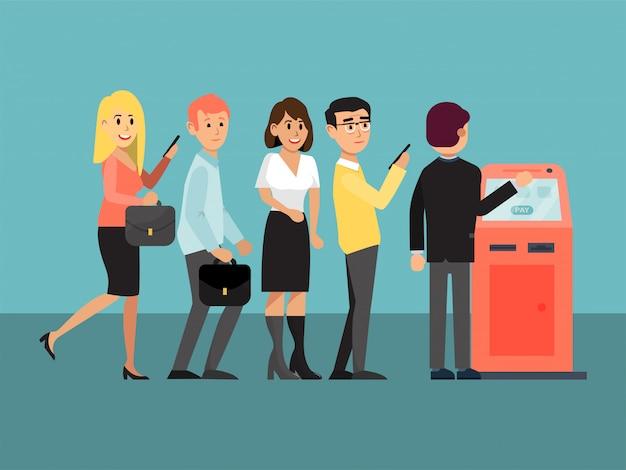 Fila no caixa eletrônico, máquina bancária que emite dinheiro, serviços pagos, serviço de saque em dinheiro, ilustração do estilo dos desenhos animados.