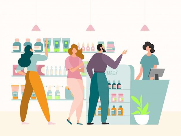 Fila no conceito interior da loja de farmácia, ilustração. pessoas clientes personagem atrás do balcão, esperando a vez de comprar