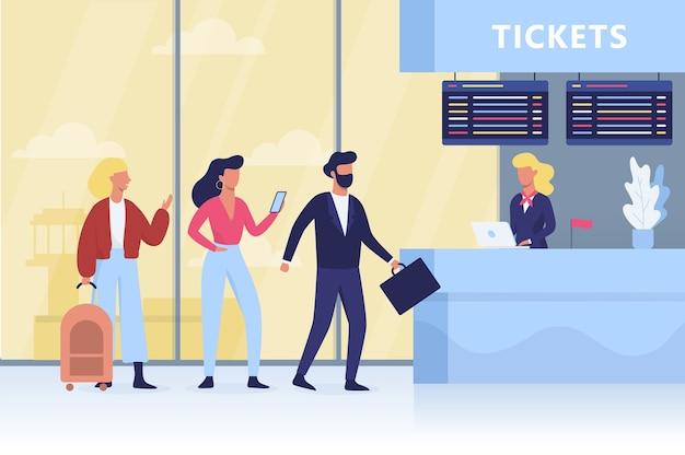Fila para o check-in no aeroporto. pessoas com bagagem