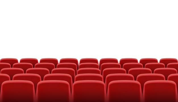 Filas de assentos de cinema ou teatro vermelhos