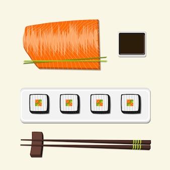 Filé de peixe vermelho de salmão, molho de soja, sushi e pauzinhos.