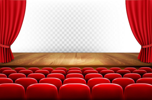 Fileiras de assentos vermelhos de cinema ou teatro na frente de um fundo transparente. vetor