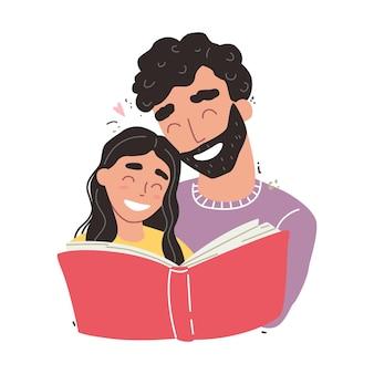 Filha abraçando o pai e sorrindo isolado no branco