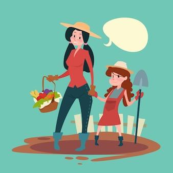 Filha de agricultores de menina pequena