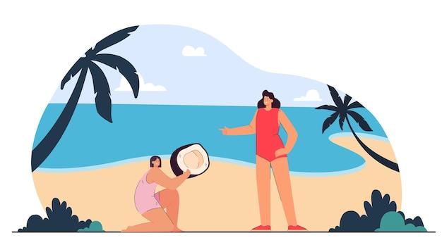 Filha de desenho animado dando um enorme coco para a mãe na praia