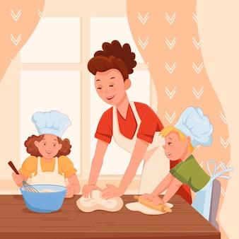 Filha de mãe de família e filho juntos preparando bolos em uma grande mesa. cattoon plana