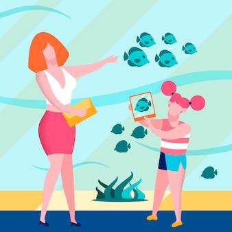 Filha de mãe em ilustração de aquário gigante plana