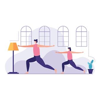 Filha de mãe treinando com yoga
