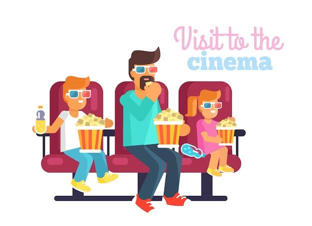 Filha de ruiva, filho adolescente e pai em óculos assistindo um filme interessante juntos