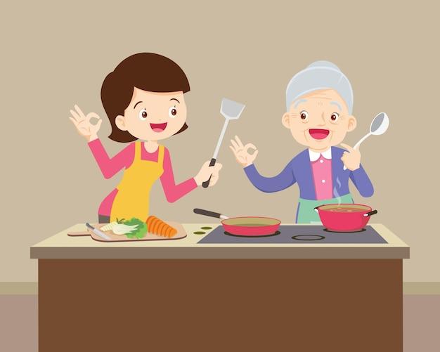 Filha feliz olhando para a avó enquanto cozinha