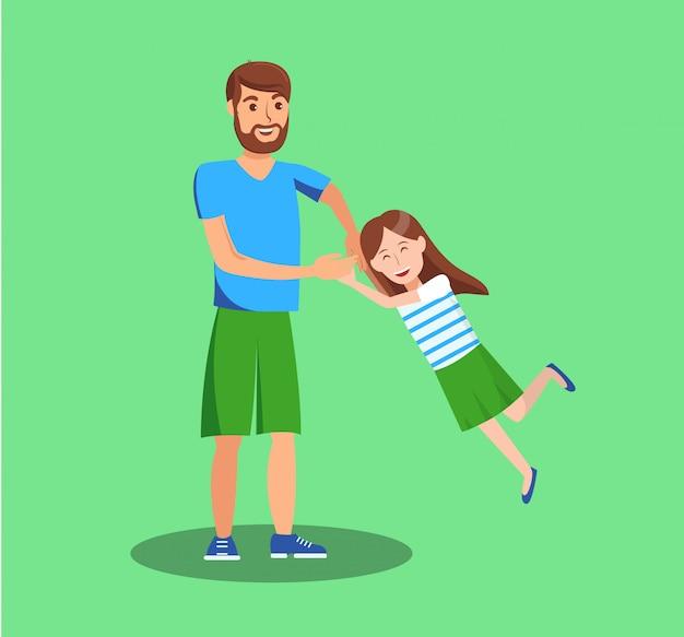 Filha se divertindo com pai ilustração