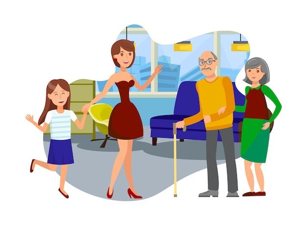 Filha visita a ilustração de pais idosos