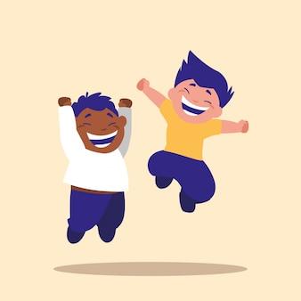 Filhinhos bonitinhos pulando personagem avatar