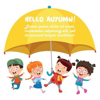 Filhinhos, com um grande guarda-chuva amarelo