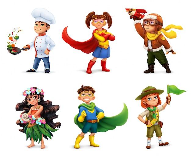 Filhinhos em trajes. super-heróis, cozinheiro, piloto, escoteiro. personagem de quadrinhos, conjunto de ícones 3d