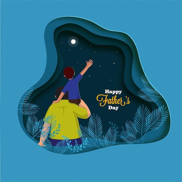 Filho de pai ombros, pai e filho duo olhando o céu noturno. feliz dia dos pais
