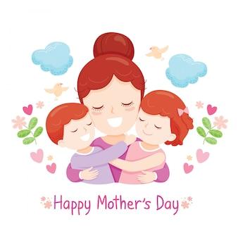Filho e filha abraçando sua mãe