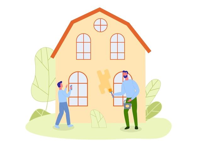 Filho e pai, consertando a casa de campo juntos