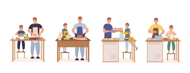 Filho feliz do pai que cozinha junto no jogo da cozinha