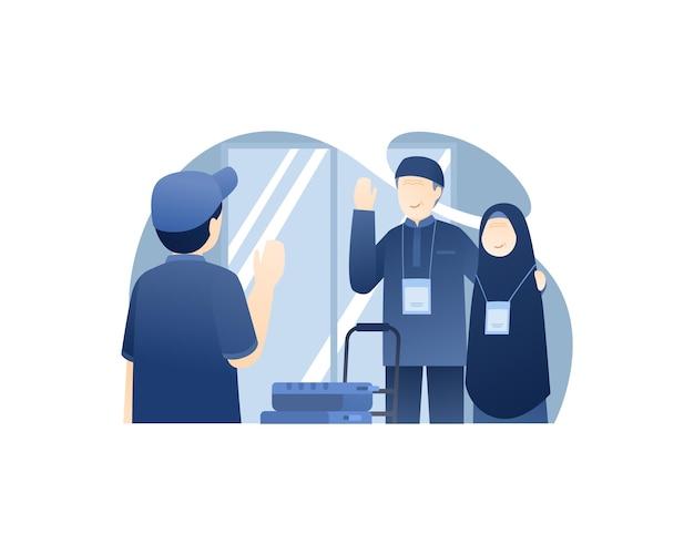 Filho se despedindo de seus pais para realizar o hajj
