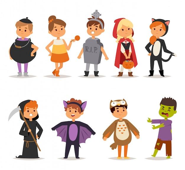 Filhos de fantasia de halloween.