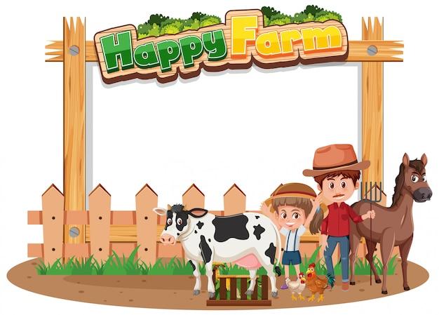 Filhos de fazendeiro com animais na fazenda feliz