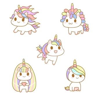 Filhos de unicórnio fofo kawaii, cor pastel dos desenhos animados, conjunto de estilo cômico