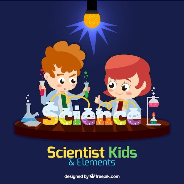 Filhos do cientista em um laboratório
