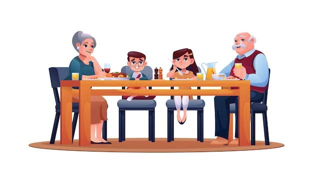 Filhos e avós à mesa desfrutam do jantar